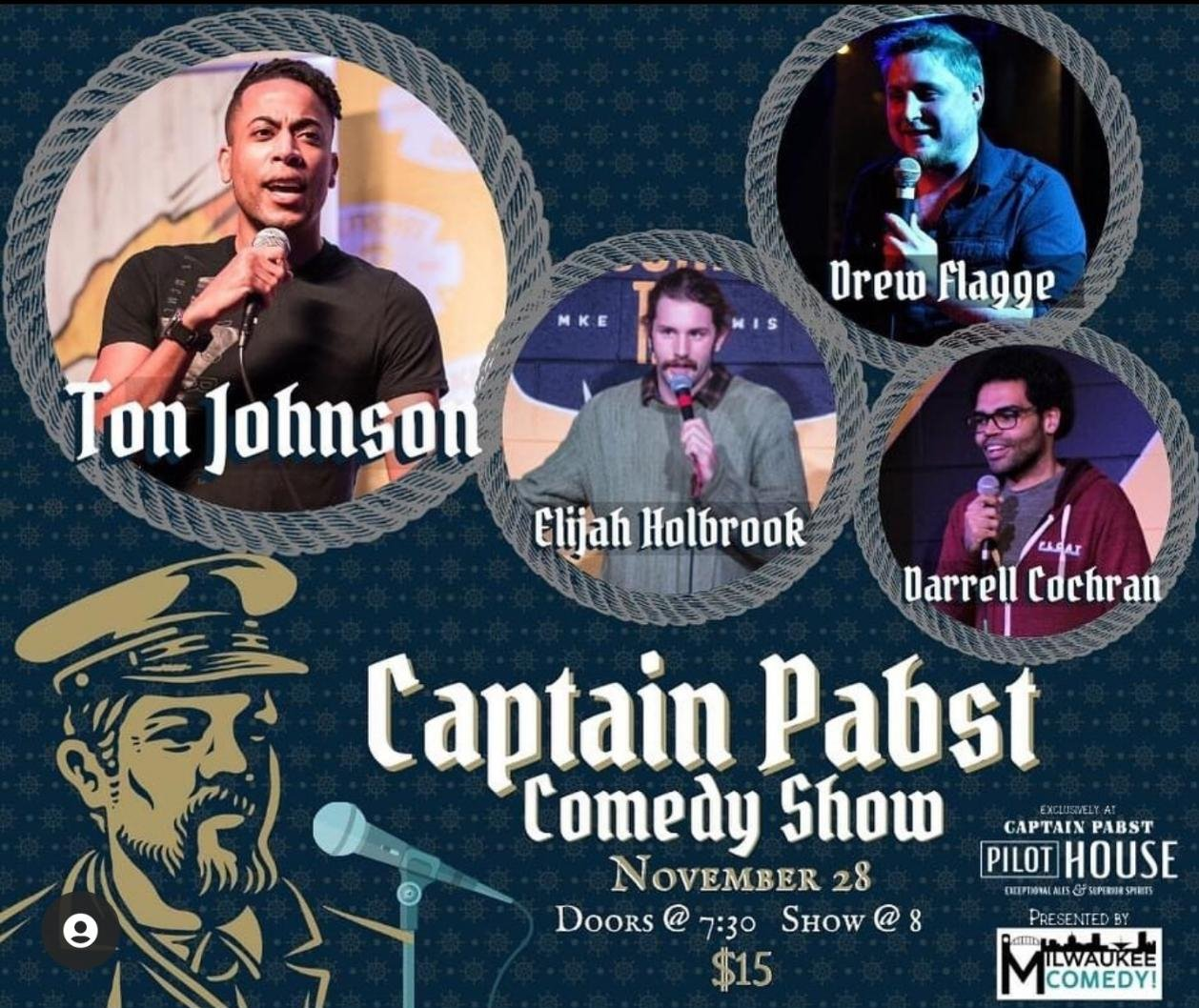 Performing on Saturday<br>@ Captain Pabst Pilot House<br>1037 W Juneau Ave, Milwaukee, WI 53233<br>Show starts at 8pm