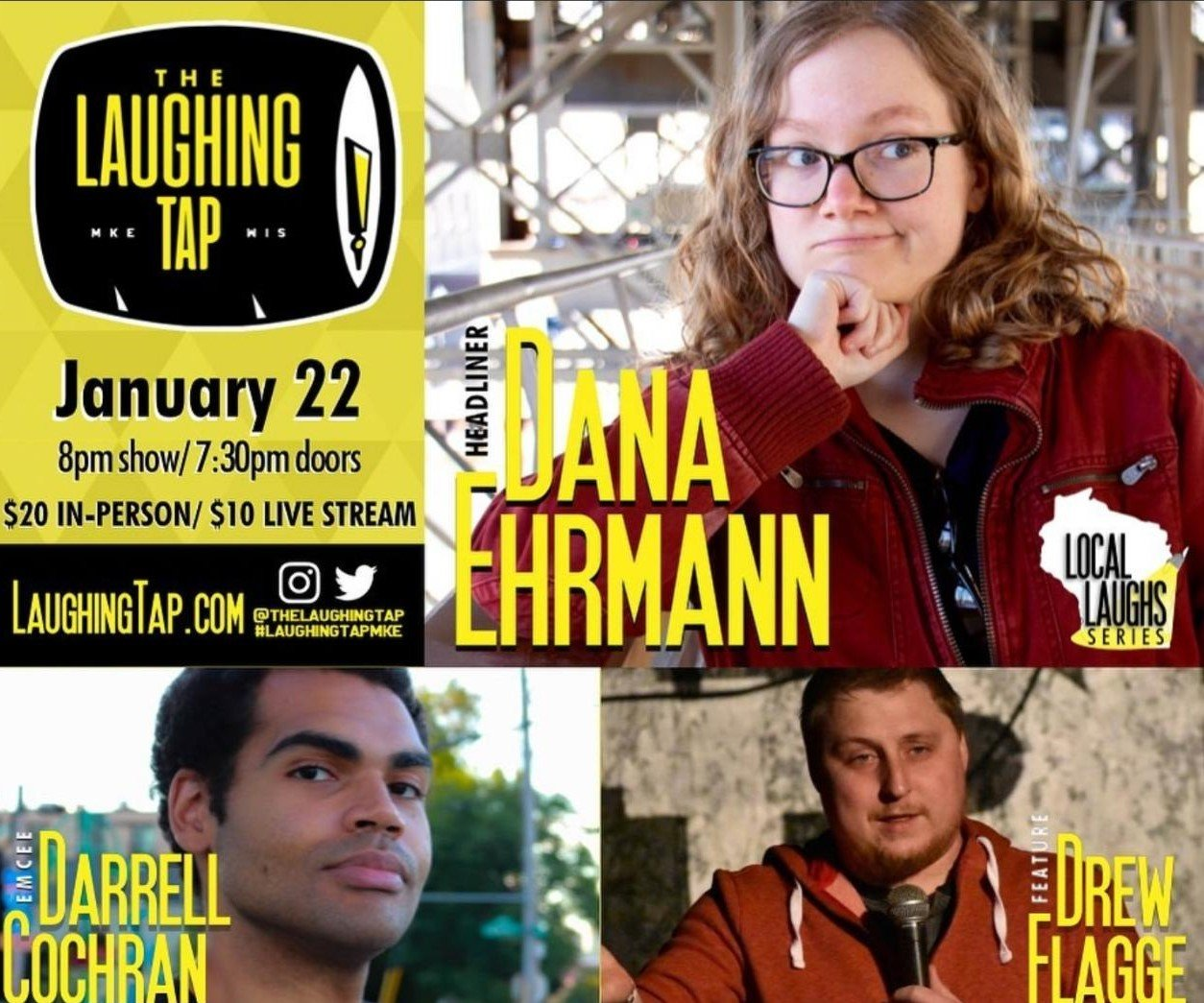 Performing on Friday<br>@ The Laughing Tap<br>706 S 5th St, Milwaukee, WI<br>Show starts at 8pm